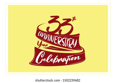 33 year anniversary Red Ribbon, minimalist logo, greeting card. Birthday invitation. 33 year sign. Red space vector illustration on yellow background - Vector
