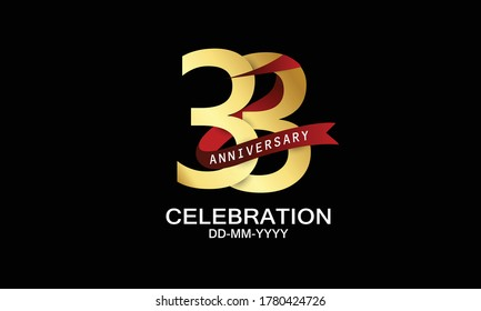 33 year anniversary red ribbon celebration logotype. anniversary logo with Red text and Spark light gold color isolated on black background, design for celebration, invitation - vector