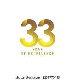 33 Year of Excellence Vector Template Design Illustration