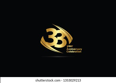 33 year minimalist logo years, jubilee, greeting card. Birthday invitation. Sign Cube Line Gold space vector illustration on black background - Vector