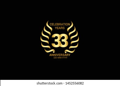 33 year minimalist logo years, jubilee, greeting card. Birthday invitation. Sign wings Line Gold space vector illustration on black background - Vector