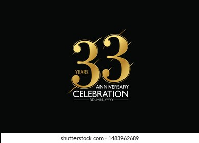 33 year minimalist logo years, jubilee, greeting card. Birthday invitation. Sign Gold space vector illustration on black background - Vector