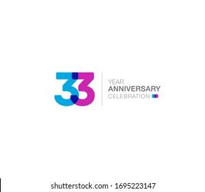 33 years anniversary or birthday celebration design template Vector.