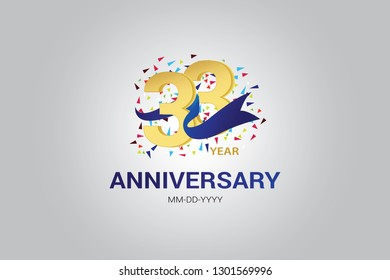33 years anniversary blue ribbon celebration logotype. anniversary logo with golden and Spark light white color isolated on black background, vector design for celebration, invitation card-vector