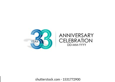 33 years anniversary celebration Blue and Tosca Colors Design logotype. anniversary logo isolated on White background, vector Horizontal number design for celebration, invitation card -vector