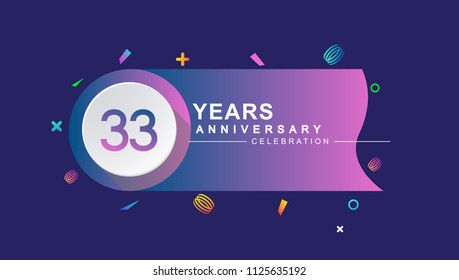 33 years anniversary celebration with colorful design, circle and ribbon isolated on dark background