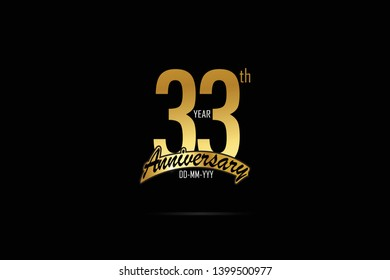 33 years anniversary celebration logotype. anniversary logo with golden Ribbons isolated on black backgrounds, for Birthdays, Invitation, Banner Card - Vector