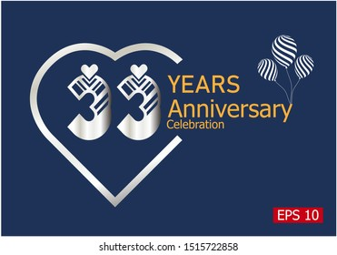 33 years anniversary celebration logotype with silver color isolated on blue background