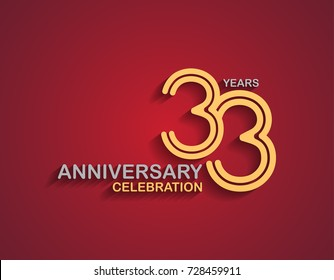 33 years anniversary celebration logotype with linked number gold and silver color isolated on red color. vector anniversary for celebration, invitation card, and greeting card