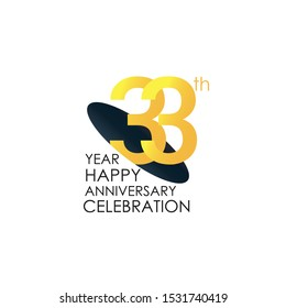 33 years anniversary celebration Yellow Color Design logotype. anniversary logo isolated on White background, vector Horizontal number design for celebration, invitation card, and greeting - Vector