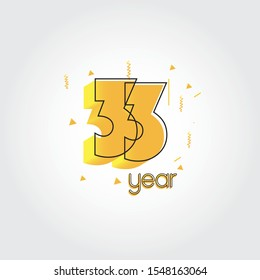 33 years anniversary celebration Yellow Colors Comical Design logotype. anniversary logo isolated on White background, vector Horizontal number design for celebration -vector