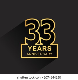 33 years anniversary design line style with square golden color for anniversary celebration event. isolated with black background