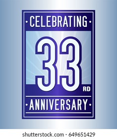 33 years anniversary design template. Vector and illustration