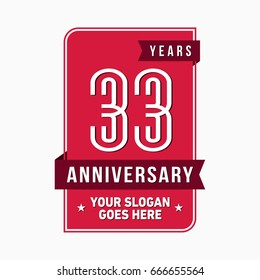 33 years anniversary design template. Vector and illustration.