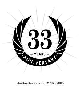 33 years anniversary. Elegant anniversary design. 33 years logo.