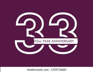 33 years anniversary image vector, 33rd anniversary celebration logotype