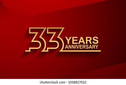 33 years anniversary line style design golden color with elegance red background for celebration