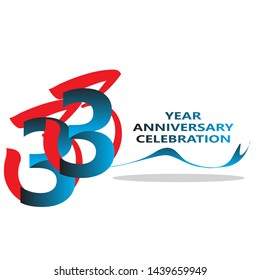 33 years anniversary linked logotype with red color isolated on white background for company celebration event