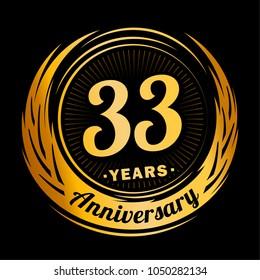 33 years anniversary. Anniversary logo design. 33 years logo.