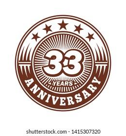 33 years anniversary. Anniversary logo design. Vector and illustration.