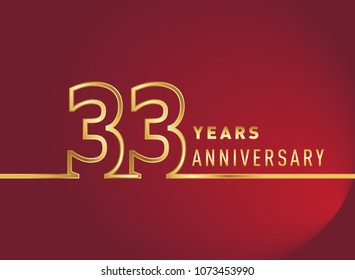 33 years anniversary logo, gold colored isolated with red background