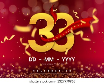 33 years anniversary logo template on gold background. 33rd celebrating golden numbers with red ribbon vector and confetti isolated design elements