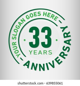 33 years anniversary logo template. Vector and illustration.
