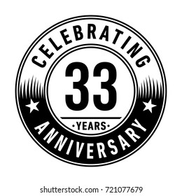 33 years anniversary logo. Vector and illustration.