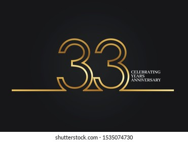 33 Years Anniversary logotype with golden colored font numbers made of one connected line, isolated on black background for company celebration event, birthday