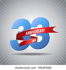 33 years anniversary with red ribbon and shiny background