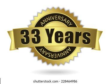 """33 Years Anniversary"" - Retro Golden Ribbon, EPS 10 vector illustration"