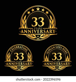 33 years anniversary set. 33rd celebration logo collection. Vector and illustration.