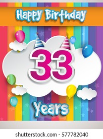 33 Years Birthday Celebration, with balloons and clouds, Colorful Vector design for invitation card and birthday party.