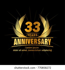 33 years design template. Anniversary vector and illustration template.