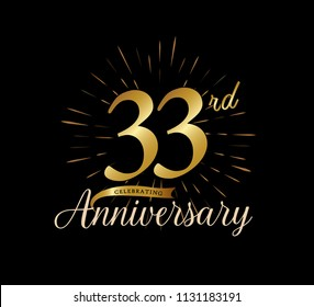 33 years gold anniversary celebration simple logo, isolated on dark background