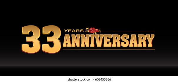 33 Years gold anniversary celebration logo, anniversary for celebration, birthday, wedding and party