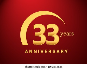 33 years golden anniversary logo with golden ring isolated on red background, can be use for birthday and anniversary celebration.