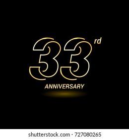 33 years golden line anniversary celebration logo design