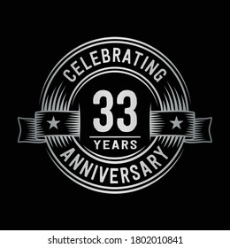 33 years logo design template. 33rd anniversary vector and illustration.