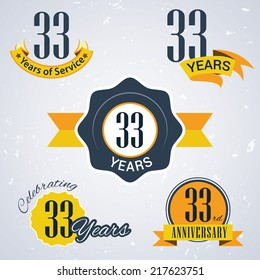 33 years of service/ 33 years / Celebrating 33 years / 33rd Anniversary - Set of Retro vector Stamps and Seal for business