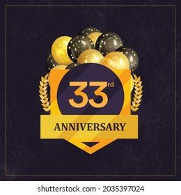 33rd  Anniversary Celebration Design, Vector illustration design.