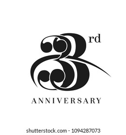 33rd Anniversary Celebration simple monogram Design. pictogram vector icon, simple years birthday logo label, black and white stamp isolated