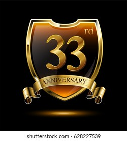 33rd anniversary logo with golden shield and ribbon. Vector illustration celebration template