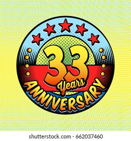33rd anniversary logo. Vector and illustrations. Comics anniversary logo.