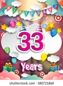 33rd Birthday Celebration greeting card Design, with clouds and balloons. Vector elements for the celebration party of thirty three years anniversary
