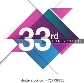 33rd years anniversary logo with geometric, vector design birthday celebration isolated on white background.