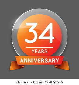 34 / Thirty Four Years Anniversary Logo with Glass Emblem Isolated. 34th Celebration. Editable Vector Illustration.