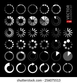 34 white and grey loading icons on black background. RGB EPS 10 vector elements set