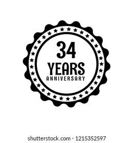 14 years anniversary celebration simple logo stock vector royalty 29th Birthday Greetings 34 years anniversary celebration simple emblem label badge logo vintage logo