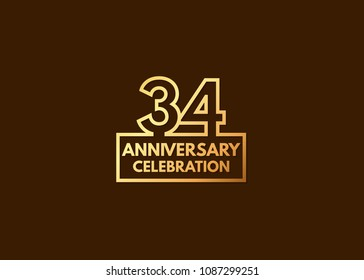 34 years anniversary design, with number formed from line connected with gold square  for celebration event isolated on brown background